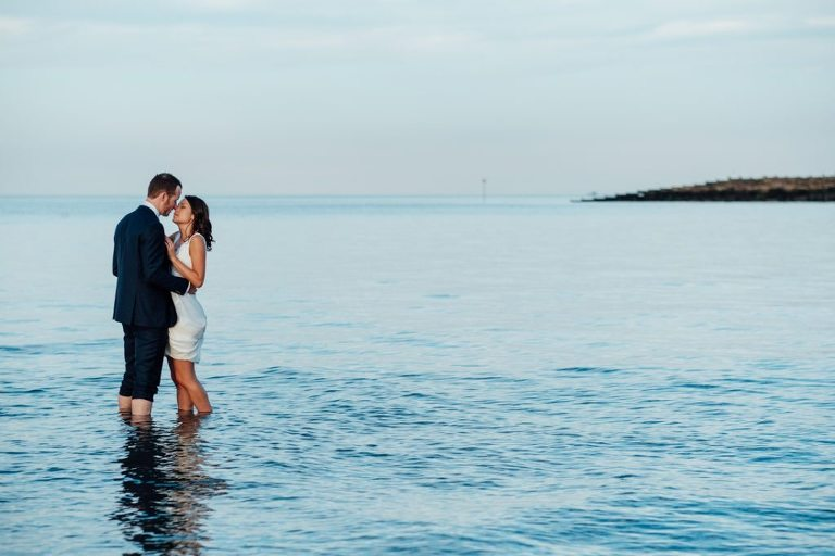 east quay wedding whitstable kent bride and groom in the sea